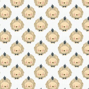 3 Wishes Fabric Little Lion White