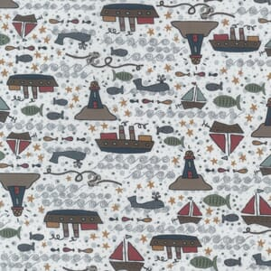 Lynette Anderson Ship to Shore Lighthouses and Boats Pale Cream