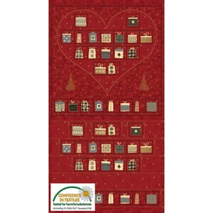 Magic Christmas Metallic Red Advent Fabric Panel 24x44 Inch