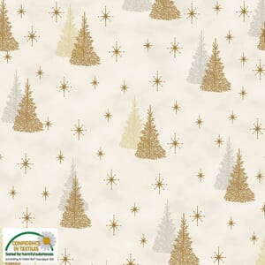 Magic Christmas Trees Metallic Beige