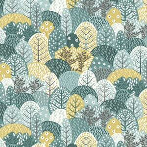 Makower Clara Fabric Trees Blue