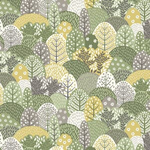 Makower Clara Fabric Trees Green