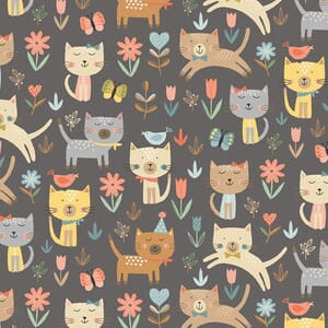 Base Image of Makower Cool Cat Jumping Grey Quilting Fabric