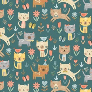 Base Image of Makower Cool Cat Jumping Turquoise Quilting Fabric