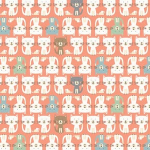 Base Image of Makower Cool Cat Parade Pink Quilting Fabric