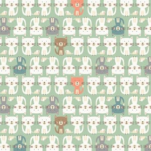 Base Image of Makower Cool Cat Parade Turquoise Quilting Fabric