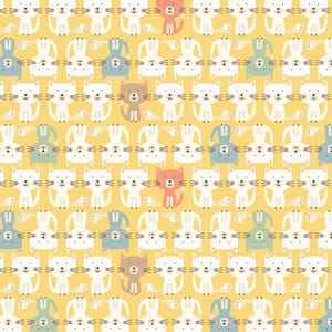 Base Image of Makower Cool Cat Parade Yellow Quilting Fabric
