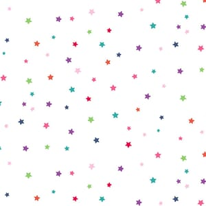 Makower Daydream Multi Star White Fabric