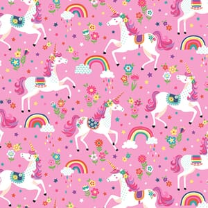 Makower Daydream Unicorns Pink Fabric