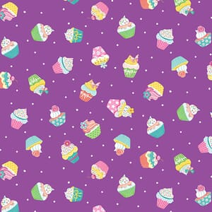 Makower Daydream Cupcakes Purple Fabric