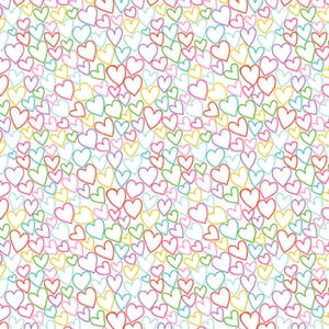 Makower Daydream Hearts White Fabric