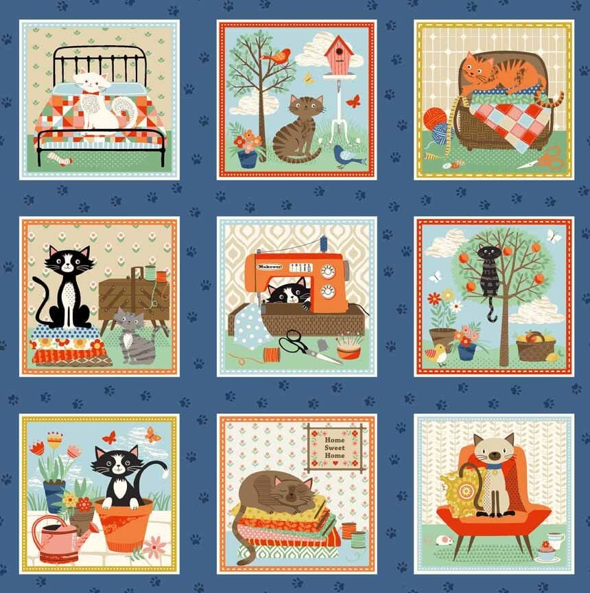 Makower Fabric Crafty Cats Labels 30cm Strips