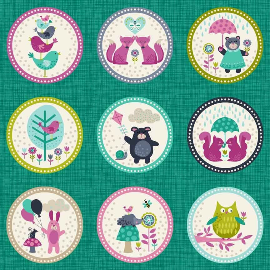 Makower Fabric Windy Day Labels Turquoise 30cm Strips of Fabric