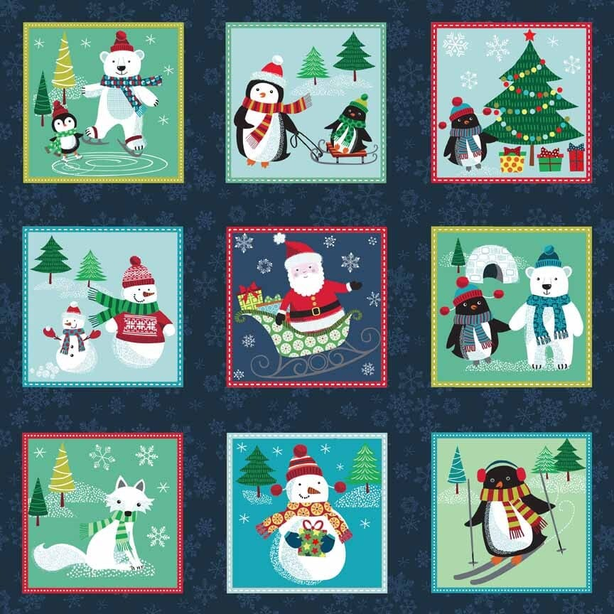 Makower Frosty Christmas Fabric Labels Squares 30cm Strip