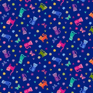Makower Katies Cats Scattered Cats Blue