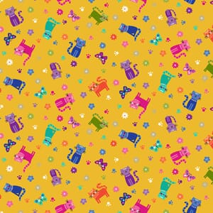 Makower Katies Cats Scattered Cats Yellow