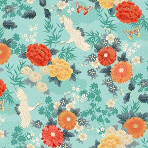 Makower Michiko Large Floral Aqua With Metallic 2330 T