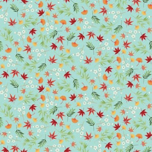 Makower Michiko Foliage Aqua With Metallic 2333 T