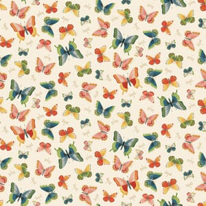 Makower Michiko Butterflies Cream With Metallic 2334 Q