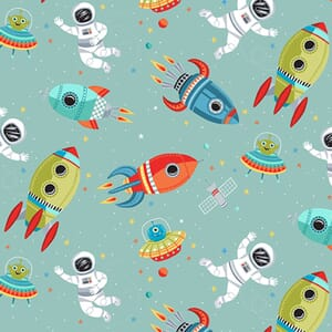 Makower Outer Space Fabric Scene Turquoise