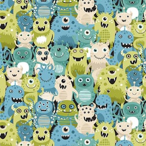 Makower Outer Space Fabric Aliens Green