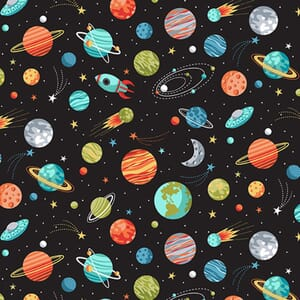 Makower Outer Space Fabric Planets Black