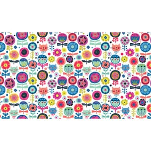 Small Image of Makower Patchwork Fabric Kitty Floral White