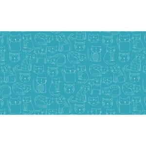 Small Image of Makower Patchwork Fabric Kitty Outline Turquoise