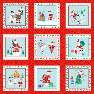 Small Image of Makower Patchwork Fabric Jolly Santa Santa Labels 30cm x 110cm