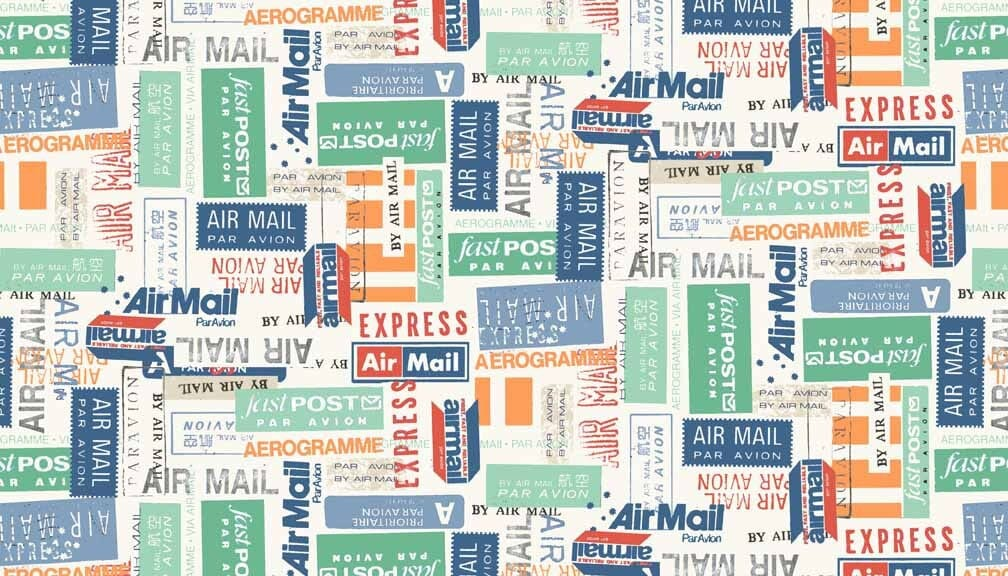 Makower Patchwork Fabric Vacation Airmail Labels