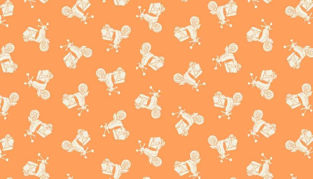 Makower Patchwork Fabric Vacation Scooters Tonal Apricot