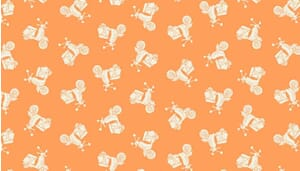 Small Image of Makower Patchwork Fabric Vacation Scooters Tonal Apricot