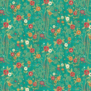Base Image of Makower Rhapsody Flower Turquoise Quilting Fabric
