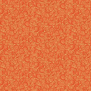 Base Image of Makower Rhapsody Scroll Orange Quilting Fabric