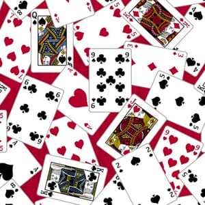 Stof Man Cave Fabric Playing Cards Red