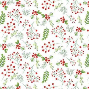 Merry and Bright Christmas Scatterd Foliage White