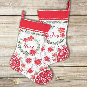 Merry and Bright Christmas stocking Panel 20x44 Inch