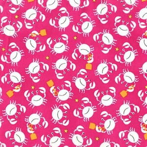 Small Image of Michael Miller Sea Buddies Little Crabs Raspberry Cotton Fabric