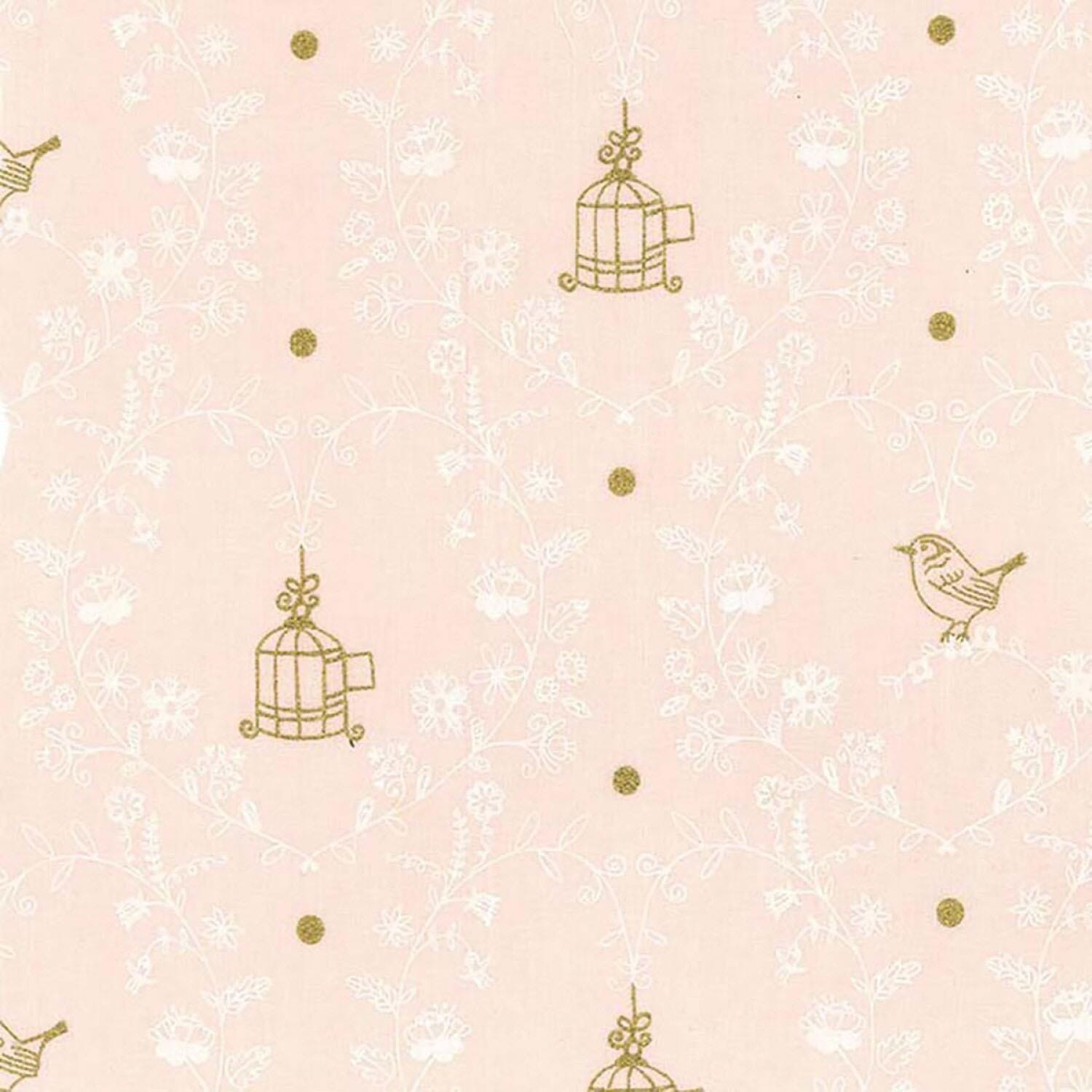 Michael Miller Wee Sparkle Free Bird Confection With Metallic Cotton Fabric