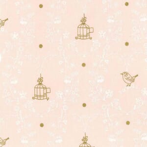 Small Image of Michael Miller Wee Sparkle Free Bird Confection With Metallic Cotton Fabric