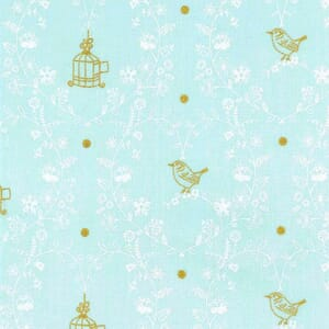 Michael Miller Wee Sparkle Free Bird Mist With Metallic Cotton Fabric