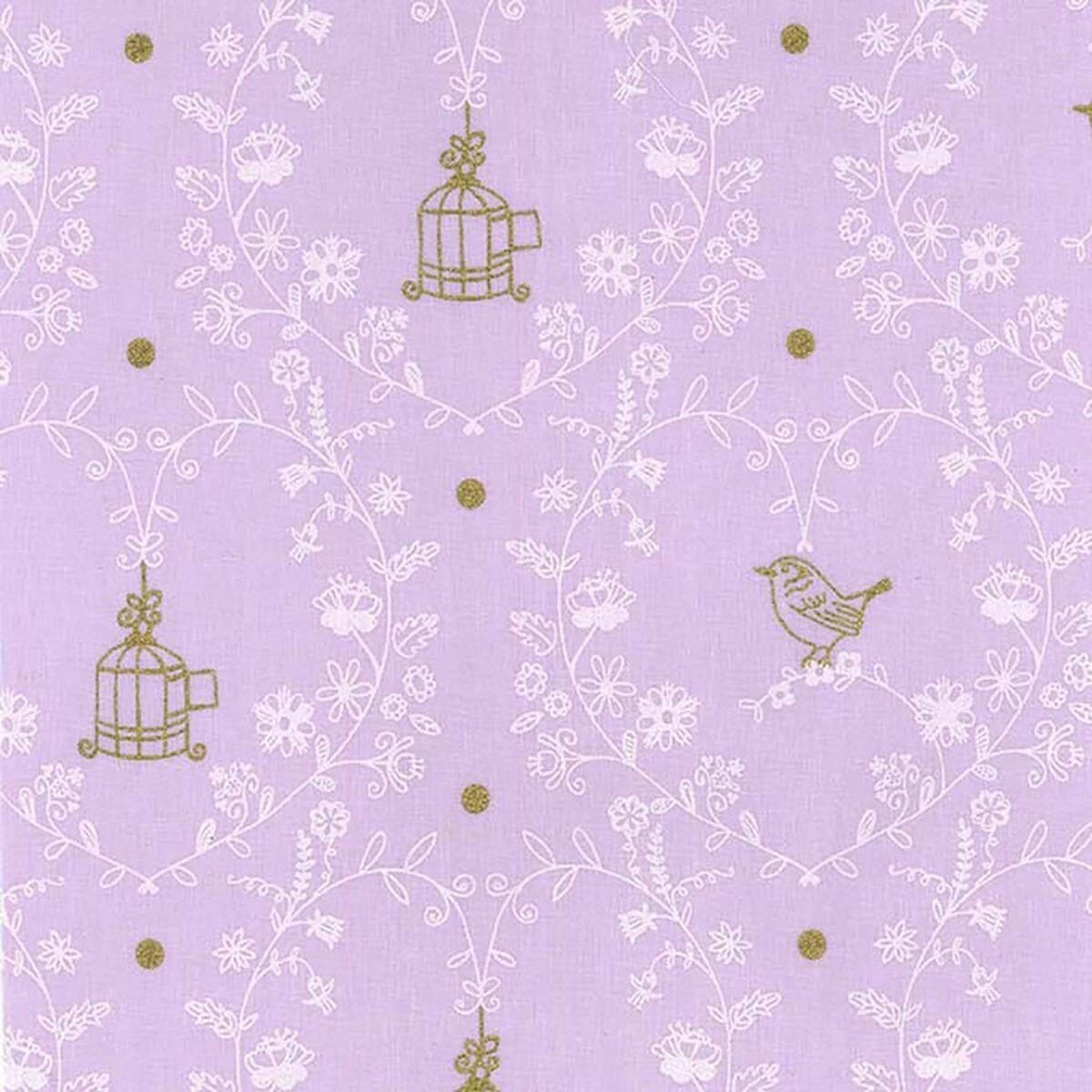 Michael Miller Wee Sparkle Free Bird Opal With Metallic Cotton Fabric