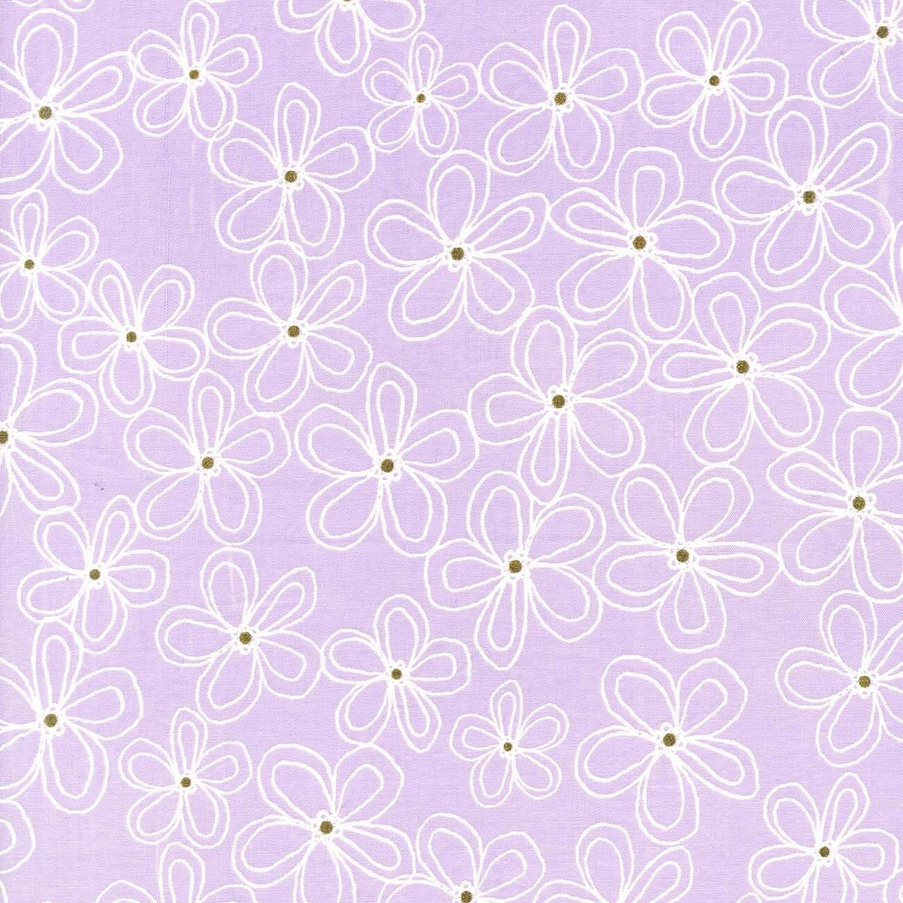 Michael Miller Wee Sparkle Lacey Daisy Opal With Metallic Cotton Fabric