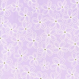 Small Image of Michael Miller Wee Sparkle Lacey Daisy Opal With Metallic Cotton Fabric