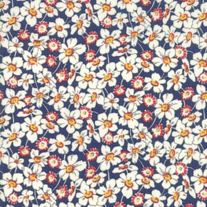 Moda Fabric Bubble Pop Apron Flowers Dark Blue