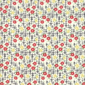 Moda Fabric Bubble Pop Grid Flowers Black