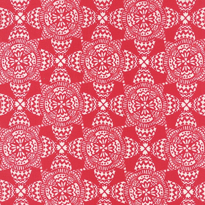 Moda Christmas Fabric North Woods Crystal Snow Cranberry Red