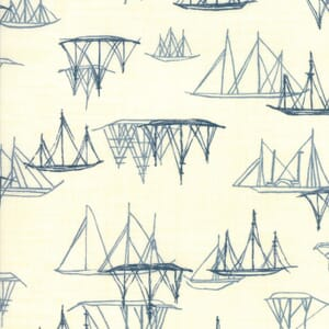 Swatch Image of Moda Fabric Ebb and Flow Ships Natural