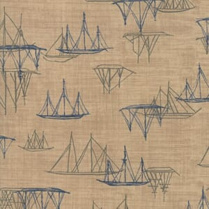 Swatch Image of Moda Fabric Ebb and Flow Ships Tan