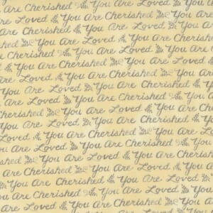 Large Image of the Moda Effies Woods Script Love Goldenrod Fabric 56013 12